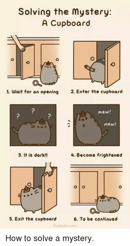 Pusheens: Solving the mystery:  A Cupboard  1. wait for an opening  2. Enter the cupboard  mew!  mew!  3. It is dark!!  4. Become frightened  O O  6. To be continued  5. Exit the cupboard  pusheen, com How to solve a mystery.