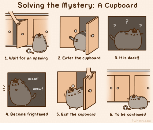 Pusheens: Solving the mystery: A Cupboard  1. Wait for an opening  2. Enter the cupboard  3. It is dark!!  mew!  mew!  4. Become frightened  5. Exit the cupboard  6. To be continued  Pusheen.com