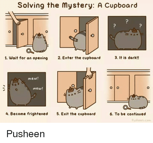 Pusheens: Solving the mystery: A Cupboard  3. It is dark!!  1. wait for an opening  2. Enter the cupboard  mew!  O O  mew!  4. Become frightened  5. Exit the cupboard  6. To be continued  Pusheen com Pusheen