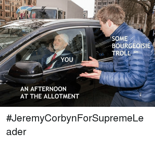 Memes, Troll, and Bourgeoisie: SOME  BOURGEOISIE  TROLL  YOU  AN AFTERNOON  AT THE ALLOTMENT #JeremyCorbynForSupremeLeader