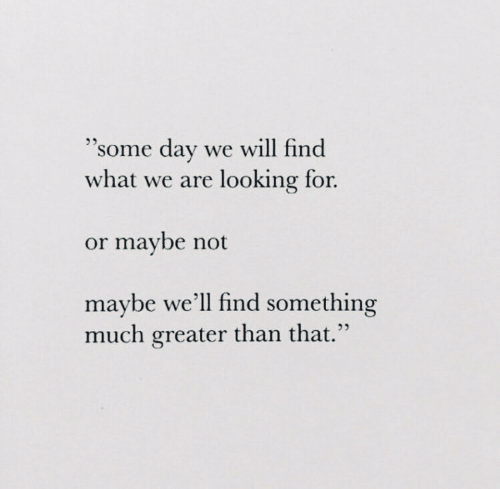 "Looking, Day, and Will: ""some day  we will find  what we are looking for.  or maybe not  maybe we'll find something  much greater than that."""
