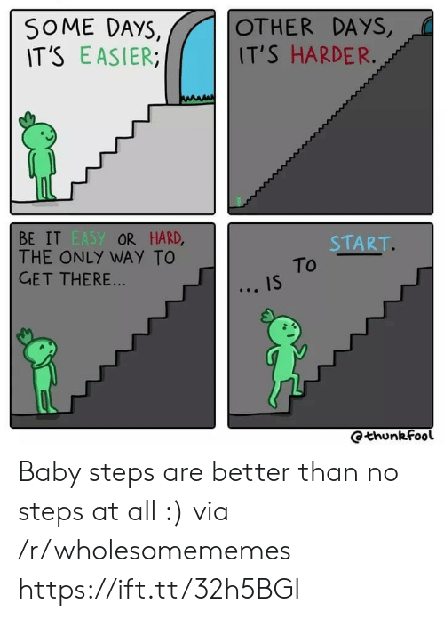 R Wholesomememes: SOME DAYS,  IT'S EASIER  OTHER DAYS,  IT'S HARDER.  BE IT EASY OR HARD,  THE ONLY WAY TO  GET THERE...  START.  To  IS  Qthunkfool Baby steps are better than no steps at all :) via /r/wholesomememes https://ift.tt/32h5BGl