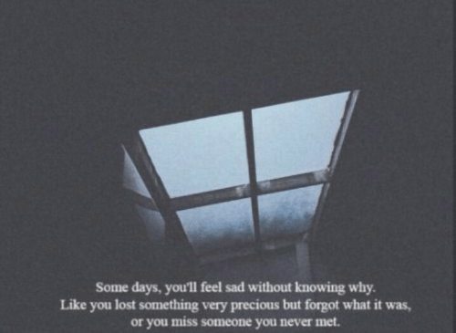 You Lost: Some days, you'll feel sad without knowing why  Like you lost something very precious but forgot what it was,  or you miss someone you never met.