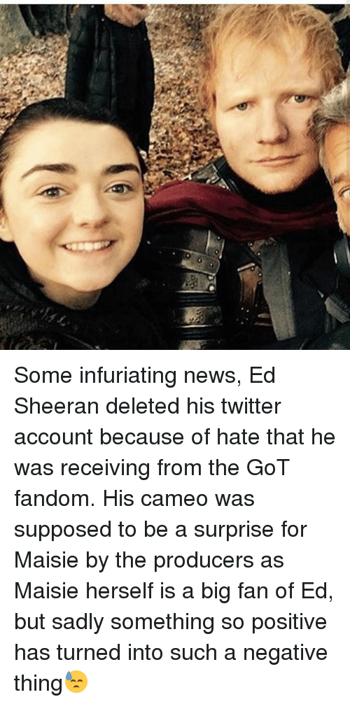 Memes, News, and Twitter: Some infuriating news, Ed Sheeran deleted his twitter account because of hate that he was receiving from the GoT fandom. His cameo was supposed to be a surprise for Maisie by the producers as Maisie herself is a big fan of Ed, but sadly something so positive has turned into such a negative thing😓