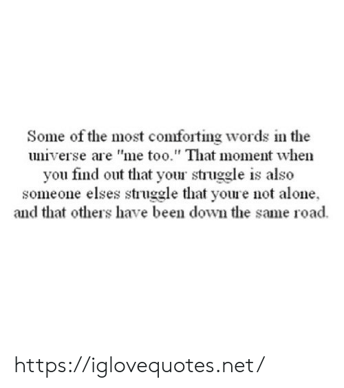 "that moment when you: Some of the most comforting words in the  universe are ""me too."" That moment when  you find out that your struggle is also  someone elses struggle that youre not alone  and that others have been down the same road https://iglovequotes.net/"