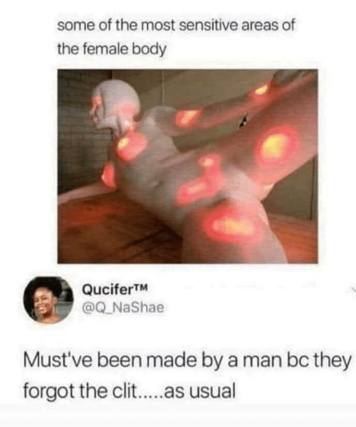 usual: some of the most sensitive areas of  the female body  QuciferTM  @Q_NaShae  Must've been made by a man bc they  forgot the clit..as usual