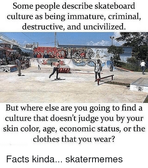 Clothes, Facts, and Skateboarding: Some people describe skateboard  culture as being immature, criminal,  destructive, and uncivilized.  But where else are you going to find a  culture that doesn't judge you by your  skin color, age, economic status, or the  clothes that you wear? Facts kinda... skatermemes