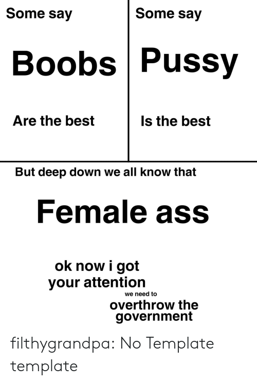 Ass, Pussy, and Tumblr: Some say  Some say  Boobs Pussy  Are the best  Is the best  But deep down we all know that  Female ass  ok now i got  your attention  we need to  overthrow the  government filthygrandpa:  No Template template