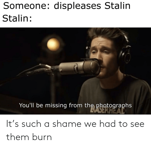 missing: Someone: displeases Stalin  Stalin:  You'll be missing from the photographs  BASERHEAL It's such a shame we had to see them burn