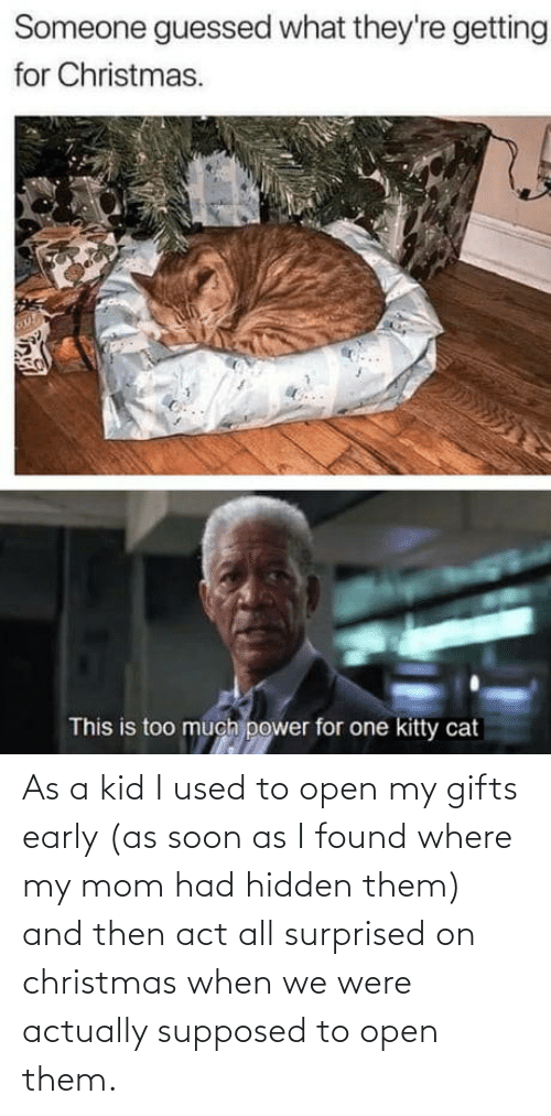 Supposed To: Someone guessed what they're getting  for Christmas.  This is too much power for one kitty cat As a kid I used to open my gifts early (as soon as I found where my mom had hidden them) and then act all surprised on christmas when we were actually supposed to open them.
