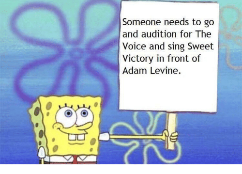 The Voice, Adam Levine, and Voice: Someone needs to go  and audition for The  Voice and sing Sweet  Victory in front of  Adam Levine.