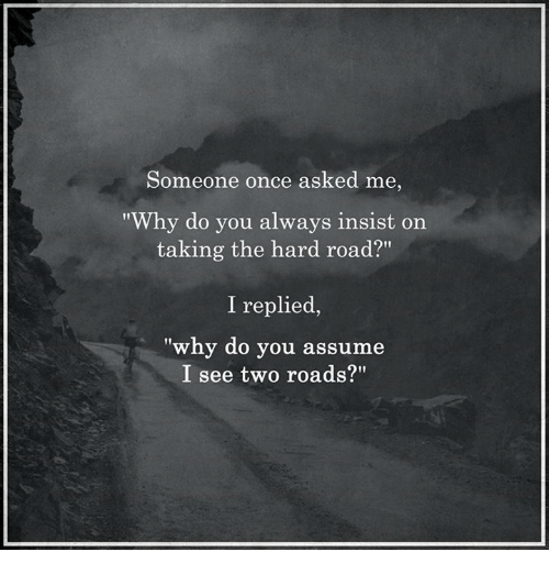 "Memes, 🤖, and Once: Someone once asked me,  ""Why do you always insist on  taking the hard road?""  I replied,  ""why do you assume  I see two roads?"""