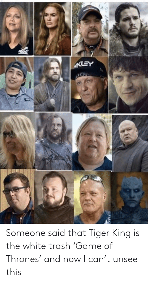 Trash: Someone said that Tiger King is the white trash 'Game of Thrones' and now I can't unsee this