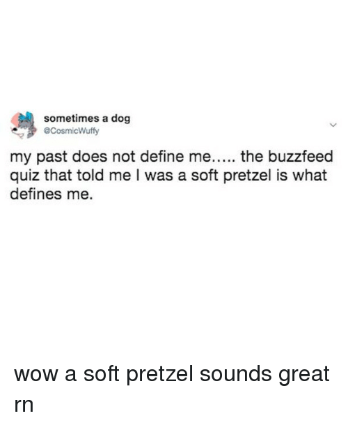The Buzzfeed: sometimes a dog  @CosmicWuffy  my past does not define me..... the buzzfeed  quiz that told me I was a soft pretzel is what  defines me. wow a soft pretzel sounds great rn