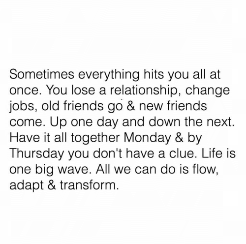 wave: Sometimes everything hits you all at  once. You lose a relationship, change  jobs, old friends go & new friends  come. Up one day and down the next.  Have it all together Monday & by  Thursday you don't have a clue. Life is  one big wave. All we can do is flow,  adapt & transform