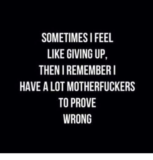 Motherfuck: SOMETIMES I FEEL  LIKE GIVING UP  THEN I REMEMBER I  HAVE ALOT MOTHERFUCKERS  TO PROVE  WRONG