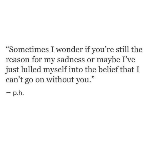 "Belief: ""Sometimes I wonder if you're still the  reason for my sadness or maybe I've  just lulled myself into the belief that I  can't go on without you."""