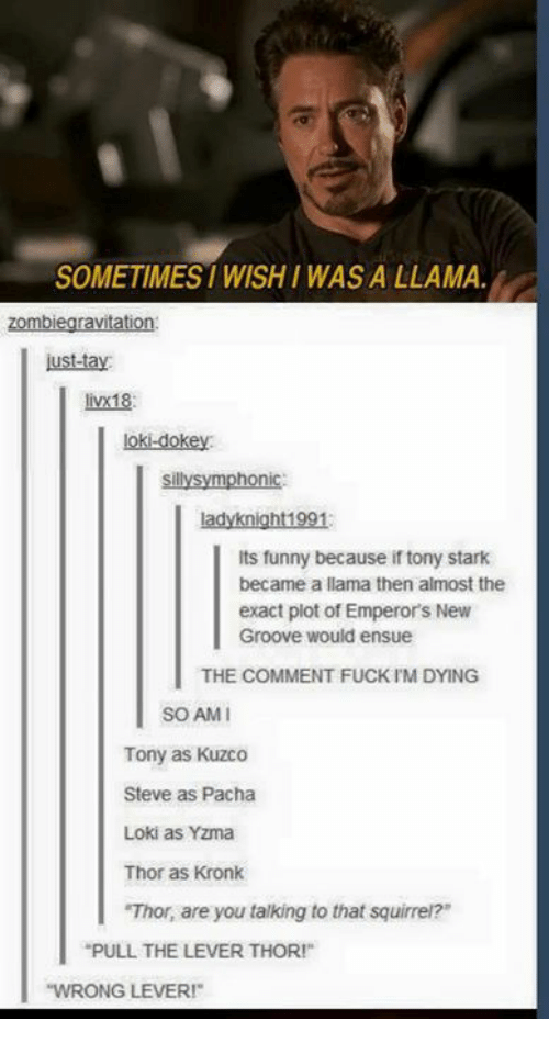 "Pacha: SOMETIMES WISHI WAS A LLAMA.  ust-tay  livx18:  loki-dokey  sillysymphonic  ladyknight1991  Its funny because if tony stark  became a llama then almost the  exact plot of Emperor's New  Groove would ensue  THE COMMENT FUCK IM DYING  SO AM  Tony as Kuzco  Steve as Pacha  Loki as Yzma  Thor as Kronk  Thor, are you talking to that squirrel?""  PULL THE LEVER THOR!  WRONG LEVER"