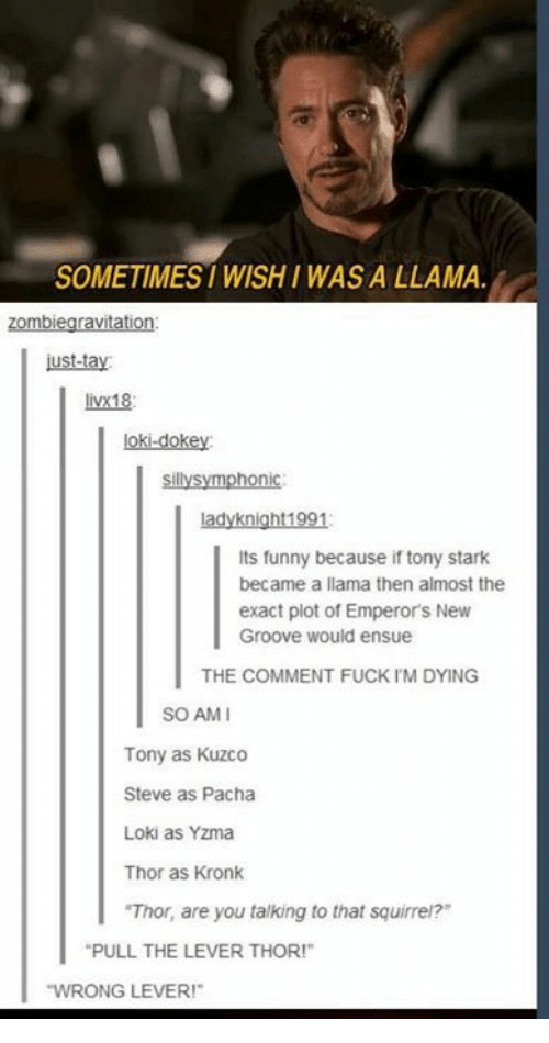 "Pacha: SOMETIMES WISHI WAS A LLAMA  zombiegravitation  ust-tay  livx18  loki-dokey  sillysymphonic  ladyknight1991  Its funny because if tony stark  became a llama then almost the  exact plot of Emperor's New  Groove would ensue  THE COMMENT FUCK IM DYING  SO AMI  Tony as Kuzco  Steve as Pacha  Loki as Yzma  Thor as Kronk  ""Thor, are you talking to that squirrei?  PULL THE LEVER THOR!""  WRONG LEVER!"