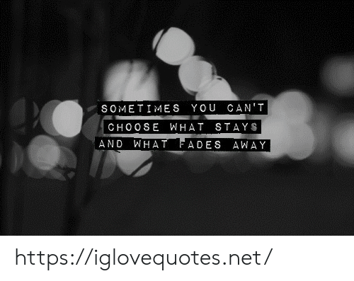Net, You, and What: SOMETIMES YOU CAN'T  CHOOSE WHAT STAYS  WHAT FADES AWAY  AND https://iglovequotes.net/