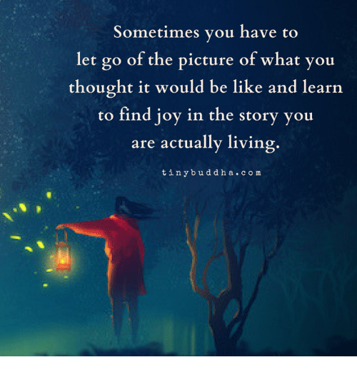 Be Like, Living, and Thought: Sometimes you have to  let go of the picture of what you  thought it would be like and learn  to find joy in the story you  are actually living.  tinybuddha.com