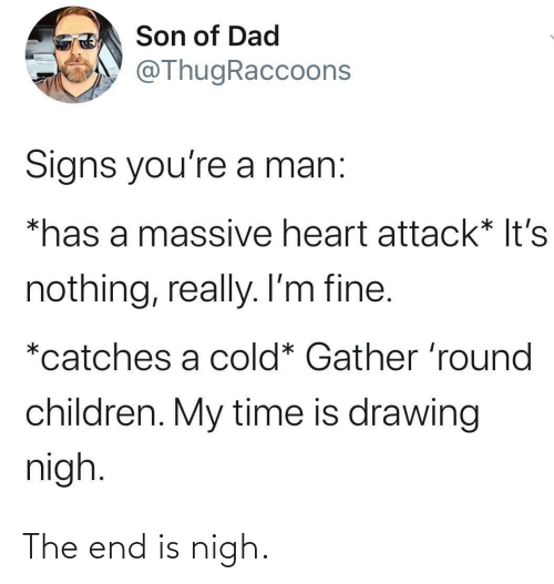 Cold: Son of Dad  @ThugRaccoons  Signs you're a man:  *has a massive heart attack* It's  nothing, really. I'm fine.  *catches a cold* Gather 'round  children. My time is drawing  nigh. The end is nigh.