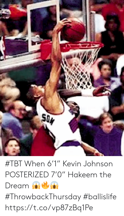 "TBT: SON #TBT When 6'1"" Kevin Johnson POSTERIZED 7'0"" Hakeem the Dream 😱🔥😱 #ThrowbackThursday #ballislife https://t.co/vp87zBq1Pe"