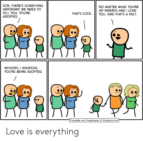 Explosm Net: SON, THERE'S SOMETHING  IMPORTANT WE NEED TO  TELL YOU. YOU'RE  ADOPTED.  NO MATTER WHAT, YOU'RE  MY PARENTS AND I LOVE  YOu. AND THAT'S A FACT  THAT'S COOL.  WHOOPS, I MISSPOKE  YOU'RE BEING ADOPTED  Cyanide and Happiness  Explosm.net Love is everything