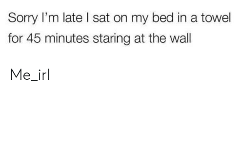Sorry, Irl, and Me IRL: Sorry I'm late I sat on my bed in a towel  for 45 minutes staring at the wall Me_irl