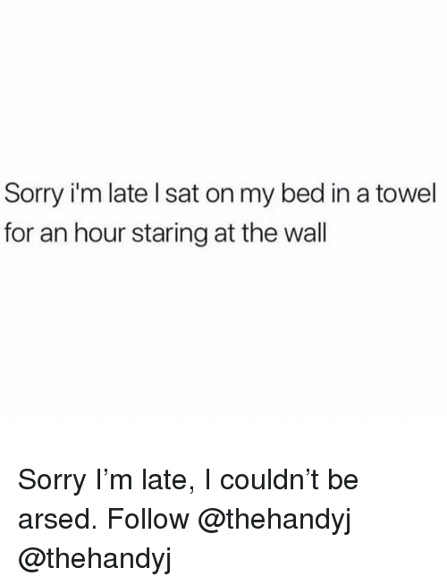 Memes, Sorry, and 🤖: Sorry i'm late l sat on my bed in a towel  for an hour staring at the wall Sorry I'm late, I couldn't be arsed. Follow @thehandyj @thehandyj