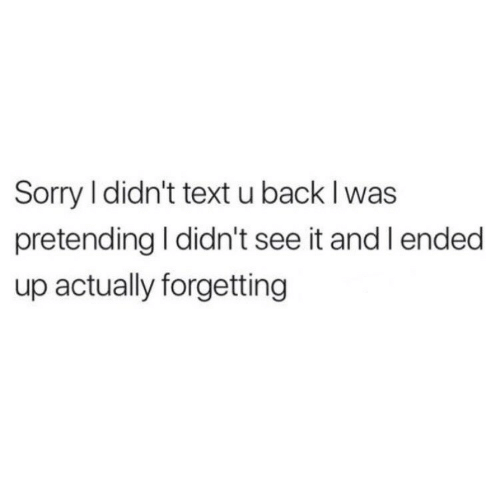Sorry, Text, and Back: Sorry l didn't text u back I was  pretending I didn't see it and l ended  up actually forgetting