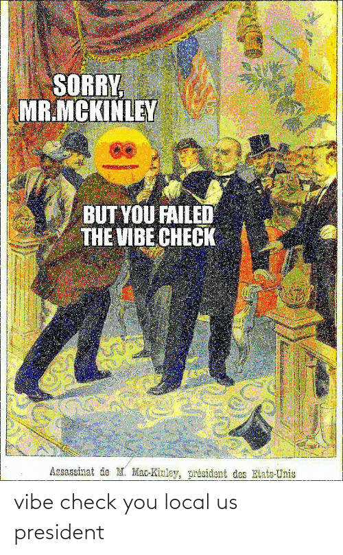 des: SORRY  MR.MCKINLEY  BUT YOU FAILED  THE VIBE CHECK  Assassinat de M. Mac-Kinley, président des Etats-Unis vibe check you local us president