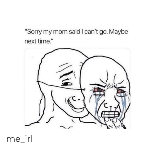 "Sorry, Time, and Irl: ""Sorry my mom said I can't go. Maybe  next time."" me_irl"