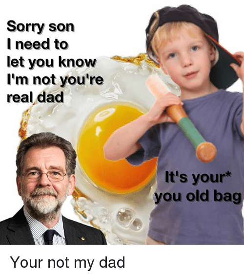 Dad, Memes, and Sorry: Sorry son  need to  let you know  I'm not you're  real dad  It's your  you old bag Your not my dad