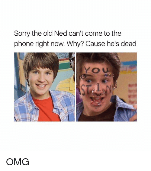 Omg, Phone, and Sorry: Sorry the old Ned can't come to the  phone right now. Why? Cause he's dead  と U OMG