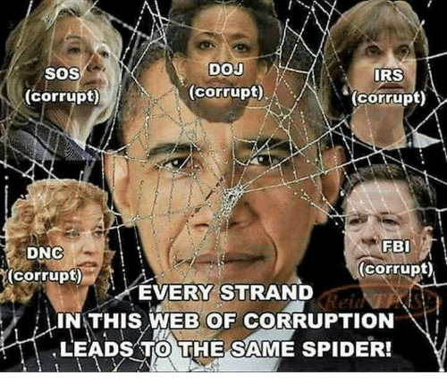Irs, Spider, and Corruption: SOS  DOJ  IRS  (corrupt)  (corrupt)  (corrupt)  DNC  (corrupt)  (corrupt)  EVERY STRAND  IN:THIS WEB OF CORRUPTION \!  LEADS TO THE SAME SPIDER!