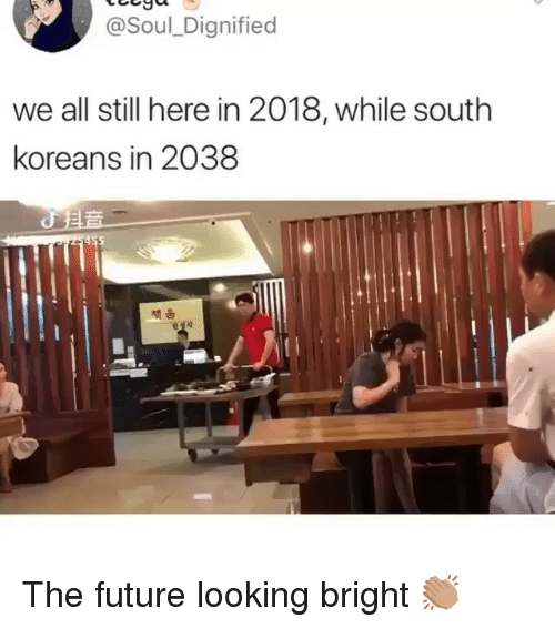 Funny, Future, and Looking: @Soul_Dignified  we all still here in 2018, while south  koreans in 2038  채움 The future looking bright 👏🏽