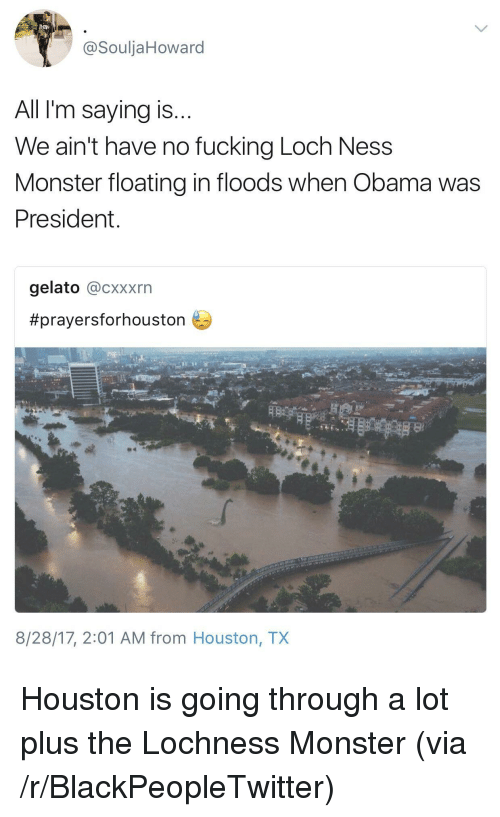 loch ness: @SouljaHoward  All I'm saying is  We ain't have no fucking Loch Ness  Monster floating in floods when Obama was  President  gelato @cxxxrn  #prayersforhouston  8/28/17, 2:01 AM from Houston, TX <p>Houston is going through a lot plus the Lochness Monster (via /r/BlackPeopleTwitter)</p>