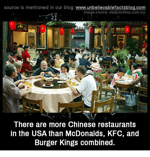 chinese restaurant: source Is mentioned In our blog  www.unbelievablefactsblog.com  Image source: studyinchina.com.my  There are more Chinese restaurants  in the USA than McDonalds, KFC, and  Burger Kings combined.