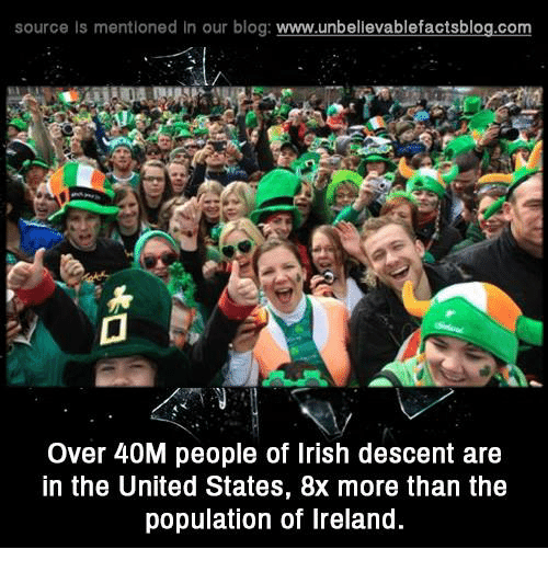 Memes, 🤖, and Descent: source Is mentioned In our blog  www.unbelievablefactsblog.com  Over 40M people of Irish descent are  in the United States, 8x more than the  population of Ireland.