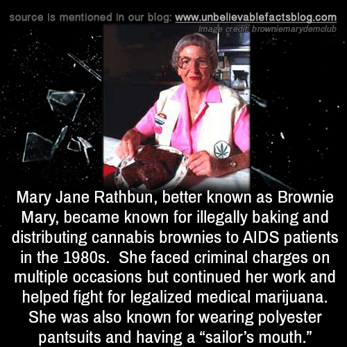 """Memes, Work, and Blog: source is mentioned in our blog: www.unbellevablefactsblog.com  lmage credit browniemarydemclub  Mary Jane Rathbun, better known as Brownie  Mary, became known for illegally baking and  distributing cannabis brownies to AIDS patients  in the 1980s. She faced criminal charges on  multiple occasions but continued her work and  helped fight for legalized medical marijuana.  She was also known for wearing polyester  pantsuits and having a """"sailor's mouth  ."""""""