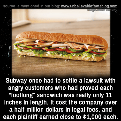 """Lawsuit: source is mentioned in our blog: www.unbellevablefactsblog.com  way  Subway once had to settle a lawsuit with  angry customers who had proved each  footlong"""" sandwich was really only 11  inches in length. It cost the company over  a half-million dollars in legal fees, and  each plaintiff earned close to $1,000 each."""