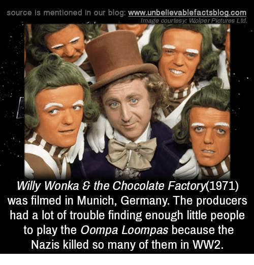 Memes, Willy Wonka, and Willy Wonka & the Chocolate Factory: source ls mentioned in our blog  www.unbelievablefactsblog.com  Image courtesy WolperPictures Ltd  Willy Wonka the Chocolate Factory 1971)  was filmed in Munich, Germany. The producers  had a lot of trouble finding enough little people  to play the Oompa Loompas because the  Nazis killed so many of them in WW2.