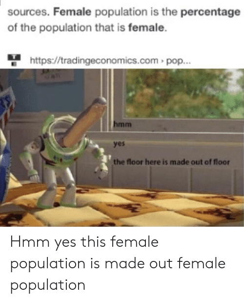 Pop, Reddit, and Http: sources. Female population is the percentage  of the population that is female.  http://tradingeconom ics.com pop...  hmm  yes  the floor here is made out of floor Hmm yes this female population is made out female population