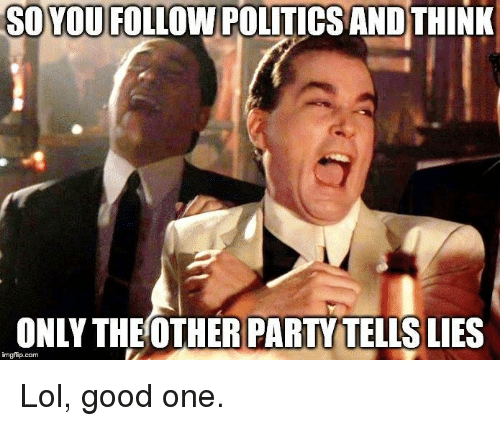 Lol, Memes, and Party: SOYOU FOLLOW POLITICS ANDTHINK  ONLY THE OTHER PARTY TELLS LIES  imgiip.com Lol, good one.