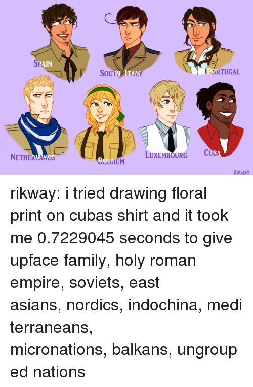 Holy Roman: SP  RAIN  SoUTHATALY  ORTUGAL  NETHERLANDS  LUXEMBOURG C  2  LLGIUM  RKWA rikway:  i tried drawing floral print on cubas shirt and it took me 0.7229045 seconds to give upface family,holy roman empire,soviets,east asians,nordics,indochina,mediterraneans,   micronations,balkans,ungrouped nations