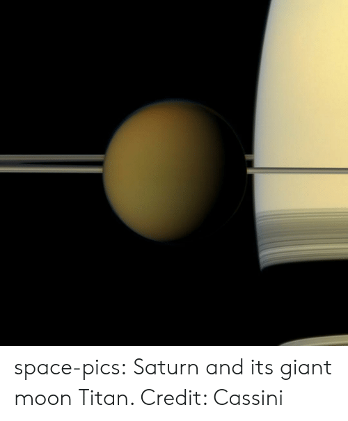 cassini: space-pics:  Saturn and its giant moon Titan. Credit: Cassini