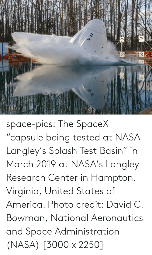 "Virginia: space-pics:  The SpaceX ""capsule being tested at NASA Langley's Splash Test Basin"" in March 2019 at NASA's Langley Research Center in Hampton, Virginia, United States of America. Photo credit: David C. Bowman, National Aeronautics and Space Administration (NASA) [3000 x 2250]"