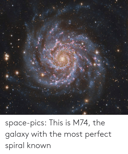 pics: space-pics:  This is M74, the galaxy with the most perfect spiral known