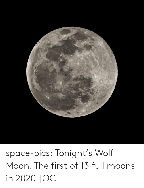 Tumblr, Blog, and Moon: space-pics:  Tonight's Wolf Moon. The first of 13 full moons in 2020 [OC]